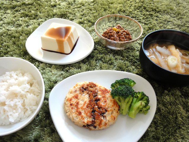 ... , natto, fried bean curd in miso soup, tofu hamburger, and soy sauce